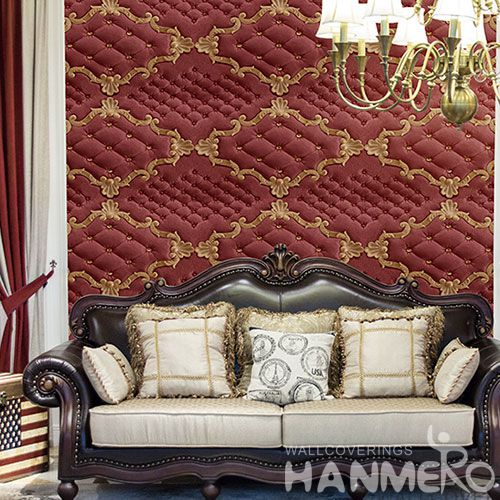 HANMERO Chinese Beautiful Luxury Modern Style Wallpaper PVC 3D Leather Effect Wallcvoering Factory Supplier With SGS CE Certificate