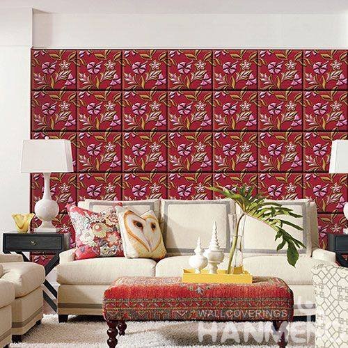 HANMERO Hot Selling Beatiful Flowers Pattern Wallpaper 3D Effect PVC Interior Wallcovering for Home Decoration from Chinese Supplier