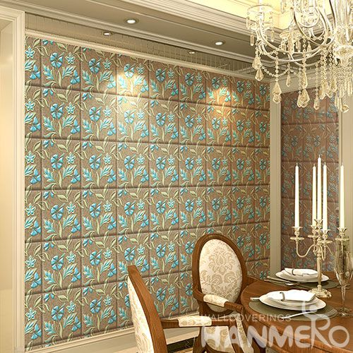 HANMERO Chinese Home interior Modern Luxury Wallpaper Beatiful Flowers 3D 1.06M PVC Room Decoration Wallcovering Wholesaler from China