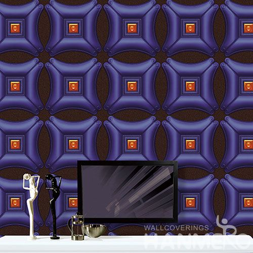 HANMERO Purple Color Home Interior 3D PVC 1.06M Wallpaper for TV Sofa Background from Professional Wallcovering Manufacturer
