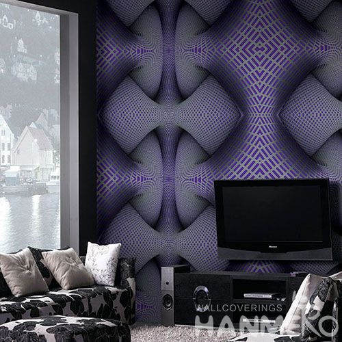 HANMERO Modern Fashion Design Wallcovering Manufacture 3D Effect 1.06M PVC Purple Color Wallpaper Study Room Decoration Hot