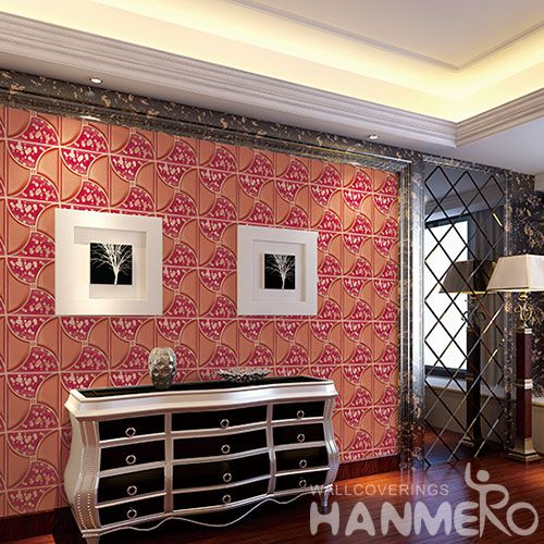 HANMERO Strippable High Quality 3D Germetric Pattern PVC Wallpaper Wholesaler Exporter from China Factory Sell Directly