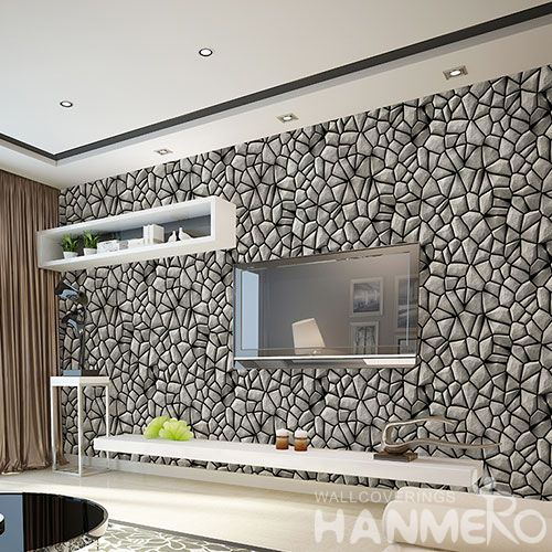 HANMERO 3D Stone Design Durable Kitchen Bathroom Wallpaper PVC 1.06M Factory Sell Directlly Chinese Wallcovering Distributor