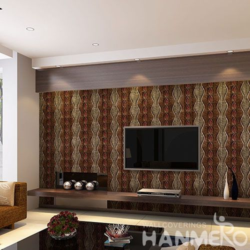 HANMERO 3D Popular Interior Room Decorative PVC 1.06M Wallpaper Red and Brown Color Wallcovering Factory New Latest