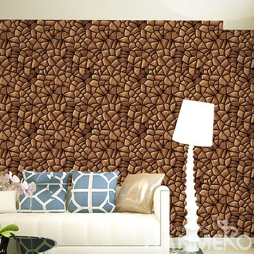 HANMERO Office Study Room Decorative Wallcovering Chinese Factory PVC 1.06M 3D Stone Design Wallpaper High Quality
