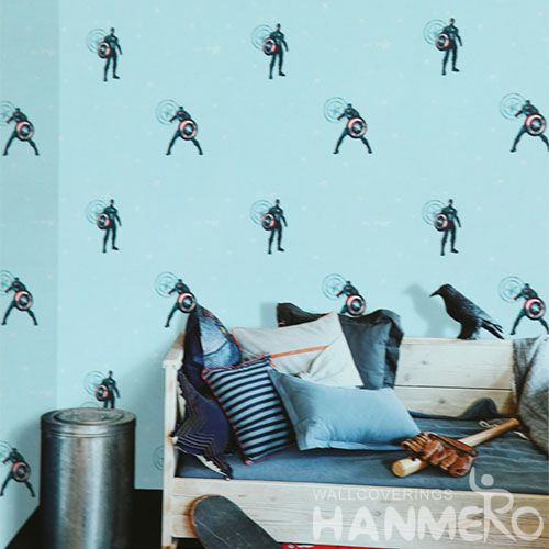 HANMERO Best-selling Affordable 0.53 * 10M PVC Boys Designer Wallpaper Blue Color for Wall Decor Chinese Vendor