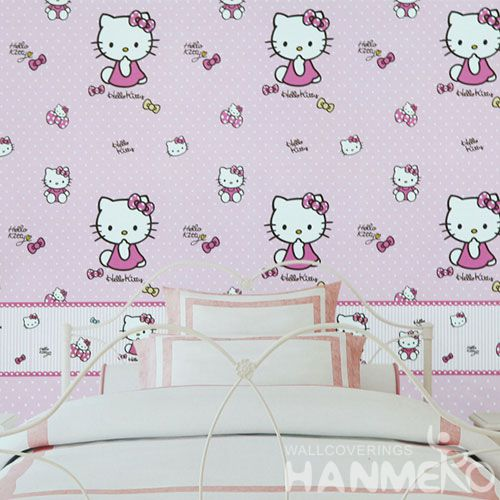 HANMERO 0.53 * 10M Hello Kitty Pink Color Girls Room Wallpaper Fresh Hot Selling PVC Vinyl Wallcovering Factory Sell Directly