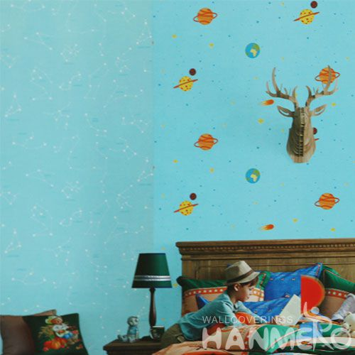 HANMERO Eco-friendly Home Decoration Wallcovering PVC Vinyl Blue Wallpaper for Kids Living Room Wholesale Price