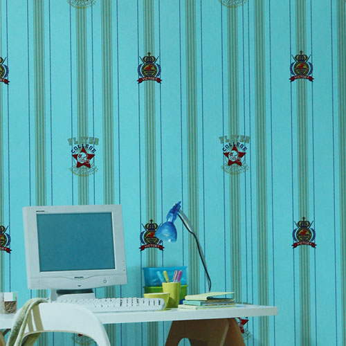 HANMERO Economical Natural Material Blue Wallpaper for Kids Room 0.53 * 10M PVC Wallcovering Home Designer On Sale