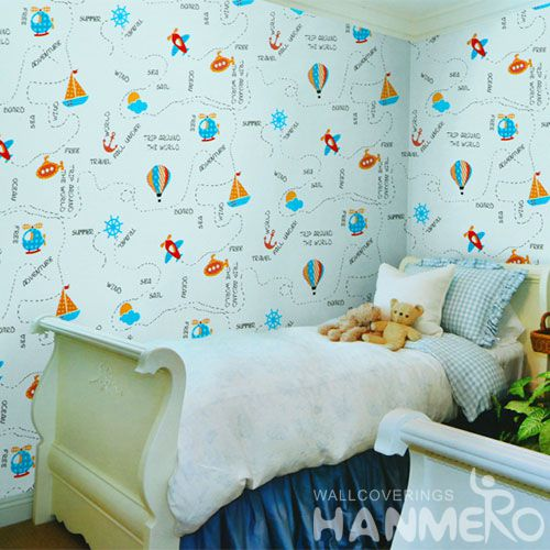 HANMERO Modern 3D Cartoon Design 0.53 * 10M PVC Wallpaper Kids Room Wall Decor Wallcovering Professional Supplier