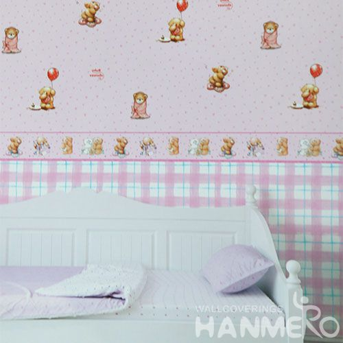 HANMERO Modern Cartoon Bear Design 0.53 * 10M PVC Kids Wallpaper for Walls Chinese Manufacture CE Certificate