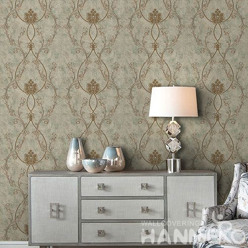 HANMERO Professional Home Wallcovering Europan Style Beautiful Design Non-woven Embroidery Wallpaper for Interior Household Wall
