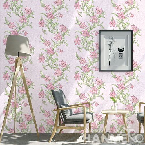 HANMERO China Manufacture Wall Decoration Wallpaper Pink Flowers Design PVC Wallcovering for Kids Room Livingroom Decor on Sale