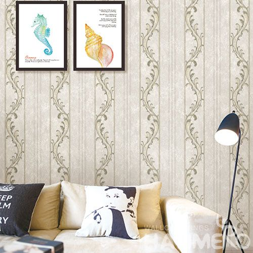 HANMERO Factory Sell Directlly Modern Fancy Beige Color Stripes Wallpaper 0.53 * 10M PVC Wallcovering Distributor Home Decor Supplier