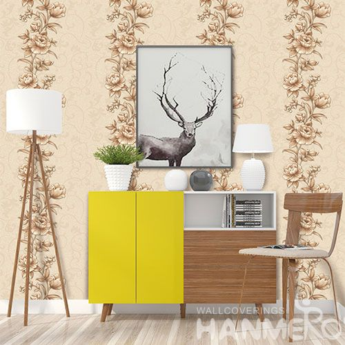 HANMERO Chinese Beatiful Yellow Flowers High Quality Household Decor PVC Wallpaper Bedroom Decorative 0.53 * 10M Wallcovering