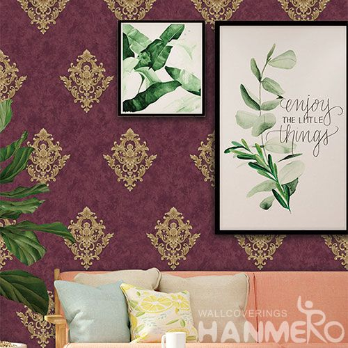 HANMERO Modern Red Damask Home Interior PVC Wallpaper for TV Sofa Background from Professional Wallcovering Manufacturer