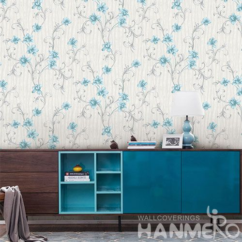 HANMERO Fancy Blue Flowers European Modern New Arrival Chinese Wallpaper for Sofa Background Wall Design Wallcovering Dealer SGS CE Certificate