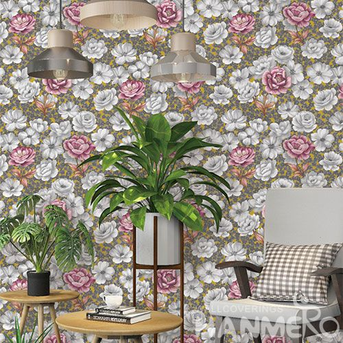 HANMERO Removable Chinese Supplier Natural Sense PVC Wallpaper Pink Flowers  Cozy Home Decoration Modern European Style Cheap Prices