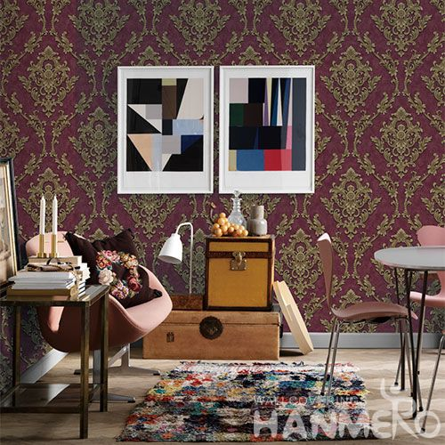 HANMERO Red Color Classic Damask Design Best Prices PVC Wallpaper for Interior Wall Design Wallcovering Vendor from Hubei China Chinese