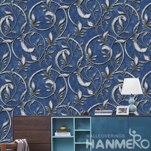 HANMERO PVC Blue Color Luxury Vines Design 0.53 * 10M Wallpaper European Classic Style from Chinese Wallcovering Seller