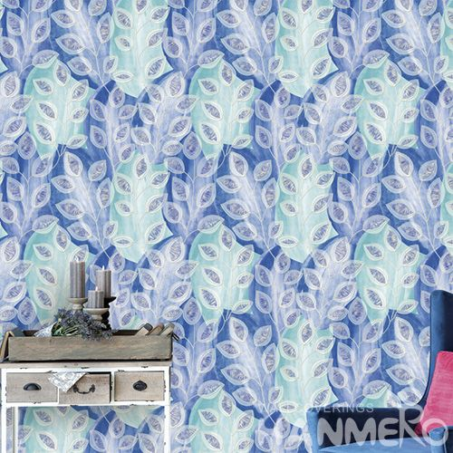 HANMERO European Style PVC 0.53 * 10M / Roll Wallpaper Blue Leaves Patterns Chinese Wallcovering Manufacturer