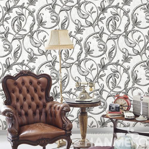 HANMERO Eco-friendly Natural Grey Vines PVC Wallpaper 0.53 * 10M Fashion Beautiful Living Room Decorating Wallcovering Latest