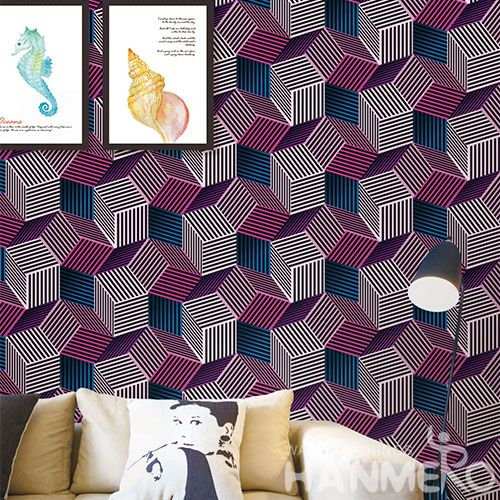HANMERO Eco-friendly 3D Red Geometric Home Decoration Wallcovering 0.53 * 10M / Roll Wallpaper Wholesale Price European Style