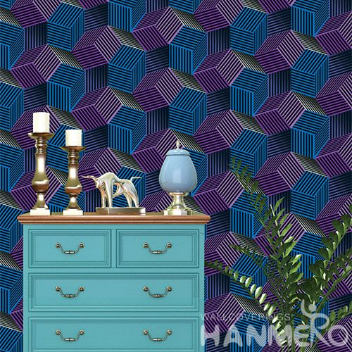 HANMERO Strippable Interior Room Decorating Wallpaper 0.53 * 10M / Roll 3D Blue Geometric Design PVC Wallcovering from Professional Supplier