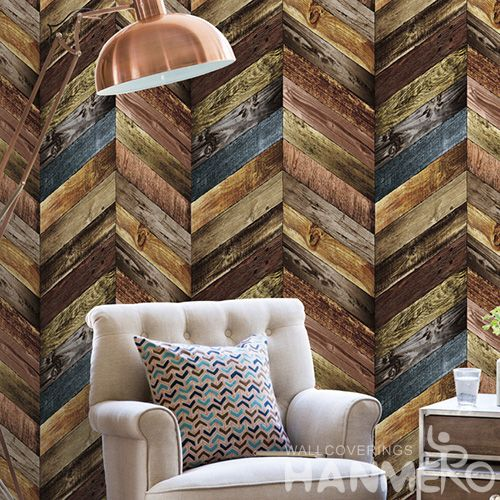 HANMERO Wood Pattern Household Living Room Wall Wallpaper PVC 0.53 * 10M Wallcovering from Chinese Factory in Modern Style