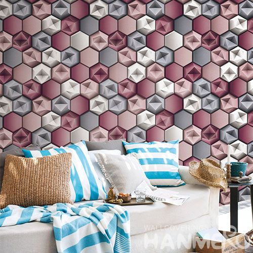 HANMERO Chinese 0.53 * 10M New Arrival Strippable 3D Geometric Design Wallpaper Classic Style for Elegant Home Room Wall Decoration