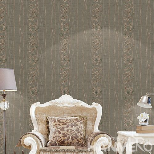 HANMERO Durable Hot Selling PVC Wallpaper Modern European 0.53 * 10M Brown Flowers Wallcovering High Quality for Living Room Decor