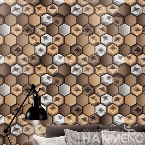 HANMERO Economical Eco-friendly 3D Geometric Wallpaper PVC 0.53 * 10M Natural Sense for Home Desinger in Modern Style On Sale