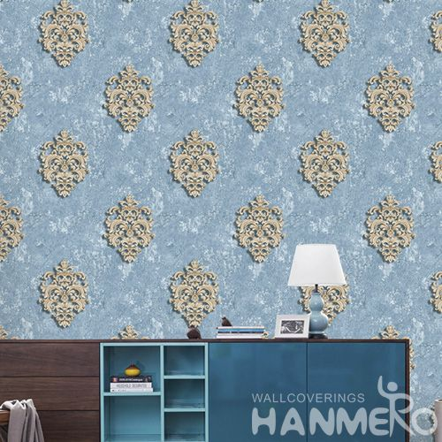 HANMERO Fancy Blue Color Classic Damask Design Wallpaper PVC 0.53 * 10M Modern European Kids Room Decor Wallcovering Photo Quality