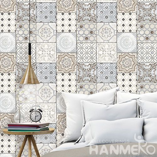 HANMERO Interior Decor Wallcovering Cozy Grey Color Geometric Design 0.53 * 10M Wallpaper Natural Material for Living Room Bedroom