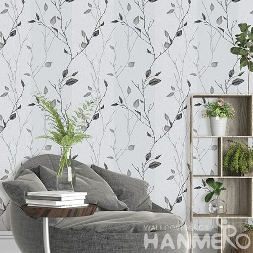 HANMERO Modern Grey Leaves PVC Wallpaper 0.53*10M Household Decor Wallcovering with Unique Technology from China