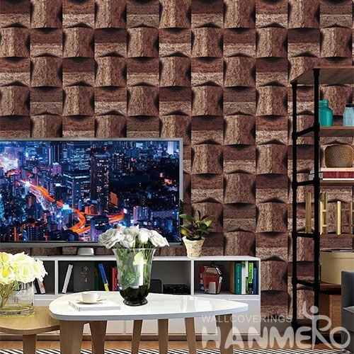 HANMERO PVC Wallpaper 0.53*10M Brown Geometric Chinese Wallcovering Vendor in Modern Eiropean Style for Room TV Sofa Background