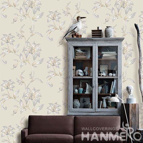 HANMERO Bed Room Wall Decoration Wallpaper Beige Color Fancy Floral Design PVC 0.53 * 10M China Wallcovering at Wholesaler Prices