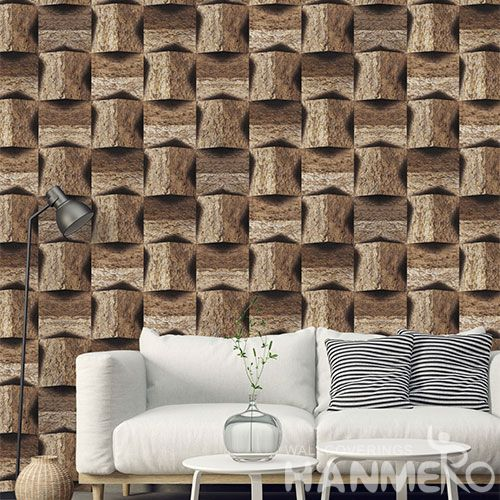 HANMERO Modern Brown Geometric Design PVC Wallpaper with Unique Technology for Luxury Home Decoration