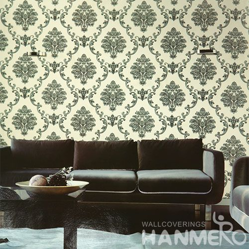 HANMERO Durable Classic Damask Pattern PVC Wallpaper 0.53 * 10M Discount Wallcovering Supplier Photo Quality for Home Room Wall
