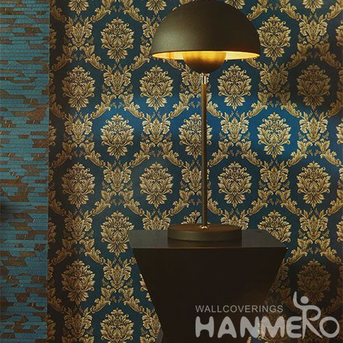 HANMERO Vinyl Washable PVC 0.53 * 10M Modern Classic Damask Wallcovering Hotels Restaurants Chinese Wallpaper Supplier