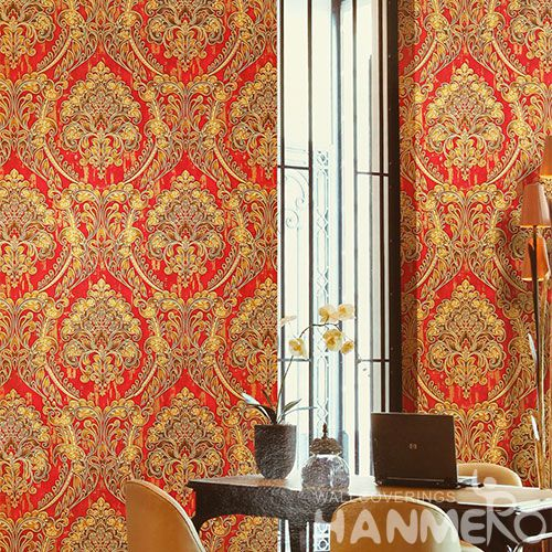 HANMERO Vinyl-coated Red Color Wall Decoration PVC Wallpaper Living Room Bed Room Wallcovering Wholesaler Cheap Prices