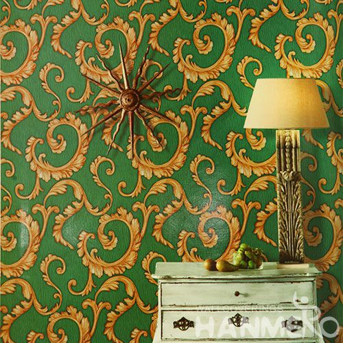 HANMERO Vinyl-coated Modern Wallcovering Ideas for Bedroom Golden Green Color Household Decor Wallpaper Hot Selling