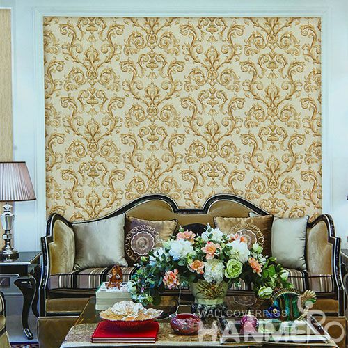 HANMERO Exported Household Yellow Color Wallpaper for Walls Buy Online PVC 1.06M Stylish Wallcovering Distributor Hot Selling