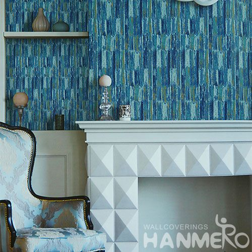 HANMERO Office Study Room Decorative Blue Color Wallcovering Chinese Factory PVC 1.06M Wallpaper House High Quality
