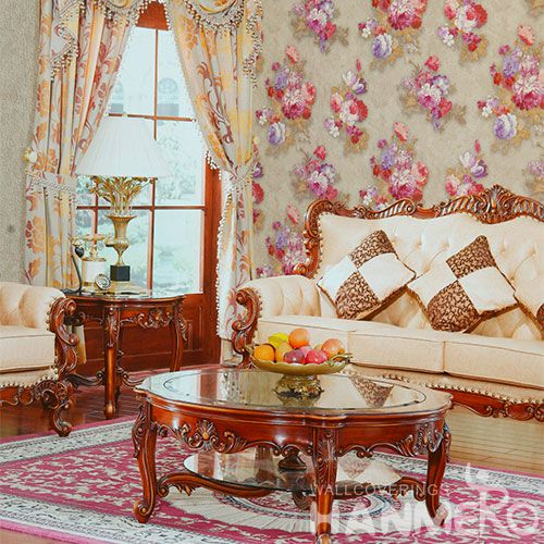 HANMERO Interior TV Background Wallcovering PVC 1.06M Decorative Wallpaper Beautiful Flowers Design from Chinese Factory