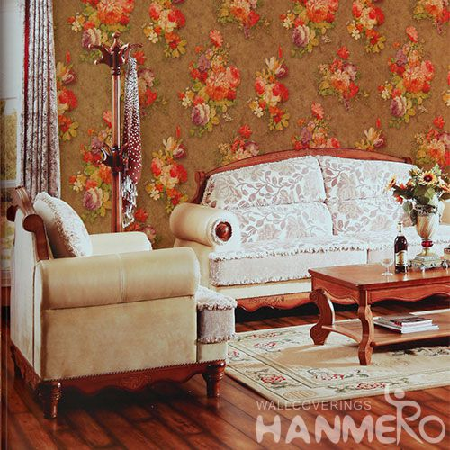 HANMERO Modern Red Flowers Pattern Removable Chinese Supplier Wallpaper PVC 1.06M Korea Design for Cozy Home Decoration