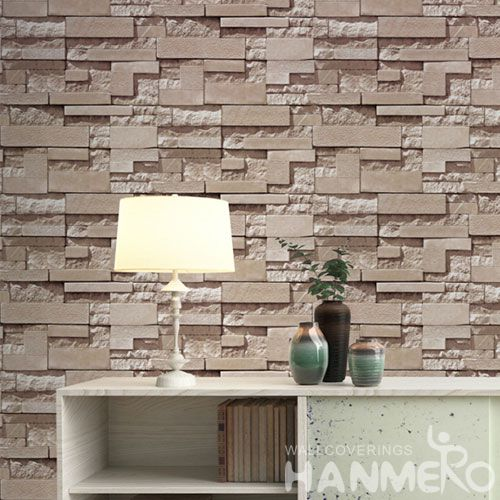 HANMERO Chinese Wallcovering Supplier Modern Stone Design PVC 0.53 * 10M 3D Bedroom Wallpaper Natural Material Wall Decor