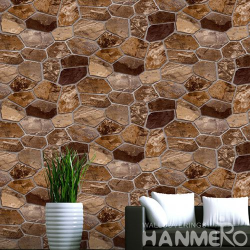 HANMERO Removable Eco-friendly Modern Stone Design Wallpaper 0.53 * 10M PVC Wallcovering for Interior Home Decoration