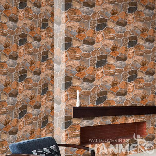 HANMERO Modern Stone Pattern 0.53 * 10M PVC 3D Wallpaper Cheap Prices Room Decorative Wallcovering Chinese Supplier