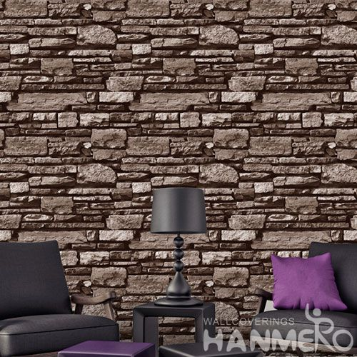 HANMERO PVC 0.53 * 10M Unique Modern 3D Stone Wallpaper for Sofa Background China Wholesale Exporter CE Certificate